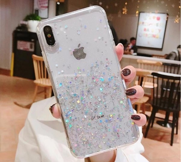 Semplice Epoxy Glitter di Apple XS MAX Mobile Shell per iPhone 11 PRO max caricatore di iphone trasparente