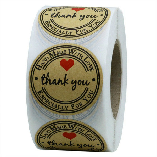best selling Thank You Stickers Kraft Paper Love Seal Label Sticker DIY Cake Baking Thanksgiving Gift Box Label Stick Wedding Party Package Decoration