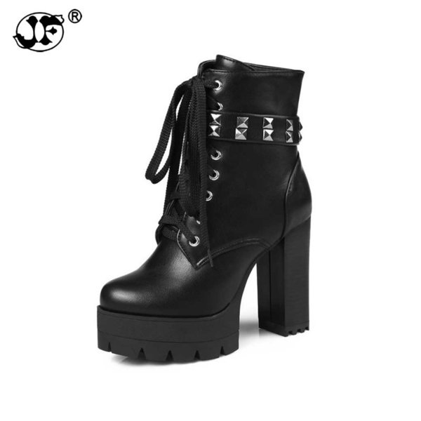 Rivets Ankle Boots Button cross-strap Zipper Square Heels Round Toe Solid Platform Autumn And Winter Rubber Sole Big Size 34-439