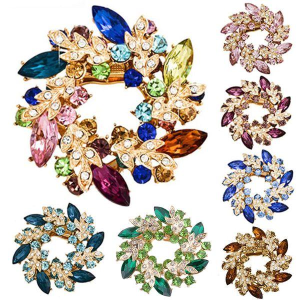 Moda mujeres broches para bufanda Moda cristalina clara Rhinestone oro-color chino Redbud flor broche Pin joyería
