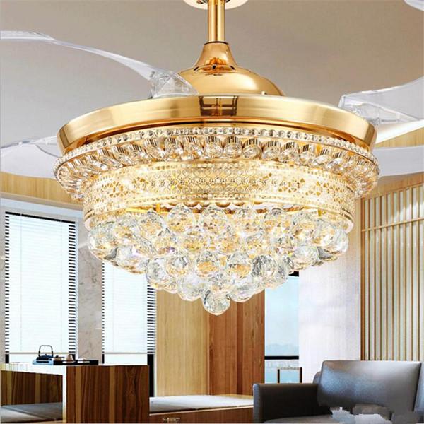 42 Inch invisible Crystal Ceiling Fan Light Modern Luxury Dining Room Ceiling Fan Lamp 4 Fan Blade 2019 New