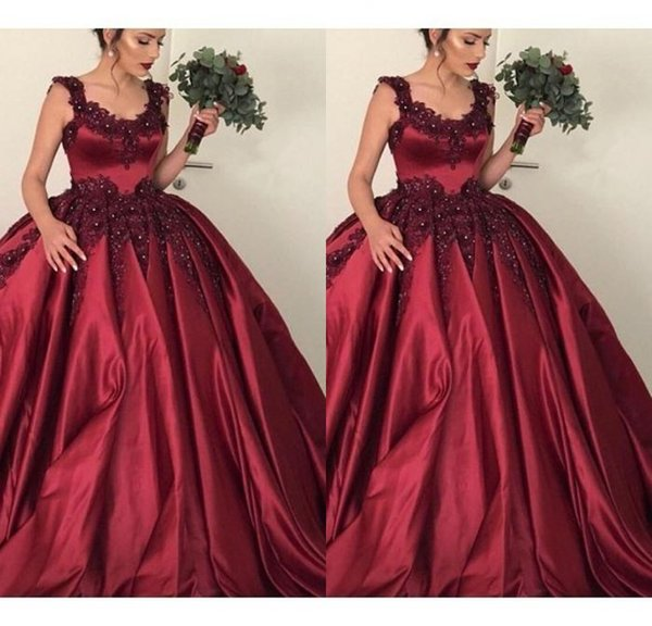 Best Selling A Line Burgundy Elastic Satin Wedding Dresses Sweep Train Straps Appliques Lace Custom Made Bridal Wedding Gowns Lace Up