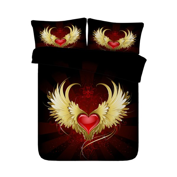Angel Wings Duvet Cover Set Love Heart Quilt Comforter Cover 3PCS Bedding Set With 2 Pillow Shams Girl Bedspread Bed Set Red Gold Black Gold