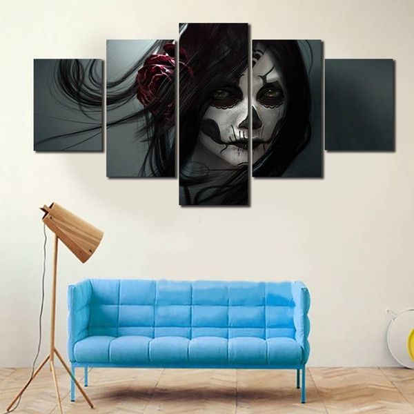5pcs/set Unframed Skull Girl Coloured Drawing on Face Figure Painting On Canvas Wall Art Painting Picture For Living Room Decor