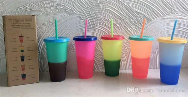 CHAUD 24 oz couleur changeante tasse gobelets en plastique magiques avec couvercle et paille couleurs de bonbons Réutilisables boissons froides tasse tasse de café magique