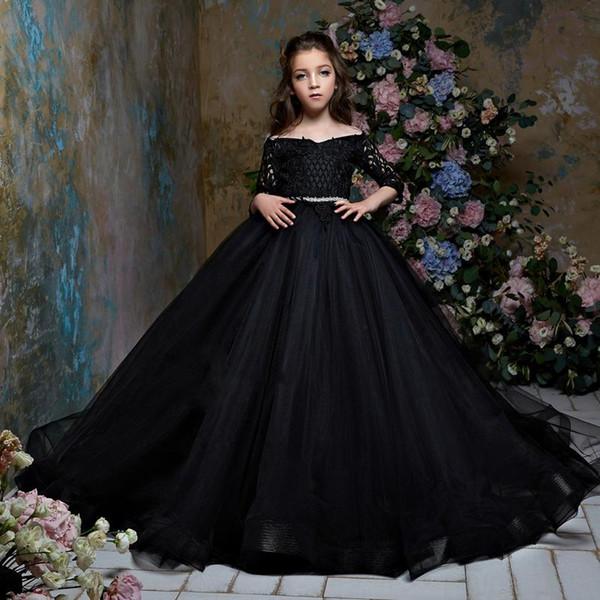 2020 fille noire fleur robes pour les mariages robe de bal col en V 3/4 manches Tulle dentelle longues robes première communion Little Girl