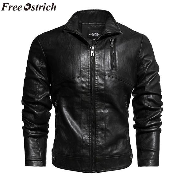 LIBRE DE LA AVESTRUZ Hombres chaqueta 2019 de los hombres de la chaqueta del color sólido ocasional de descubierta de la cremallera Outwear de manga larga Abrigos Blusas