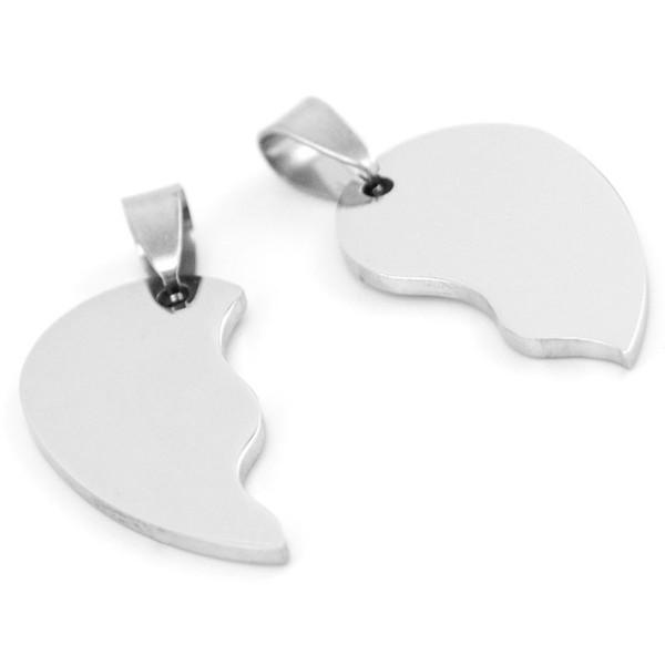 100% Stainless Steel Broken Heart Pendant DIY Charm Tag Both Sides Mirror Polish Acero inoxidable Wholesale 50pcs