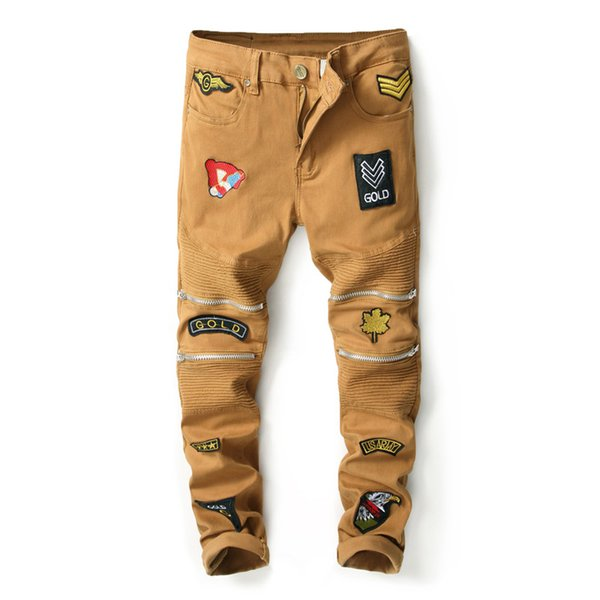 2019 New Khaki Ripped Jeans Men With Zippers Badge Denim Skinny Famous Designer Brand Slim Fit Jean Pants Scratched Biker Jeans