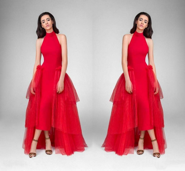 Stunning Red high Neck Prom Dresses With Tulle Overskirt 2019 Sheath Satin Evening Gowns High Low Backless Formal Party Dresses