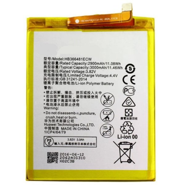 2019 100% da bateria original autêntica 2900mAh HB366481ECW para P9 P9 Lite honra 8 p10 Lite y6 II p8 Lite bateria / p20