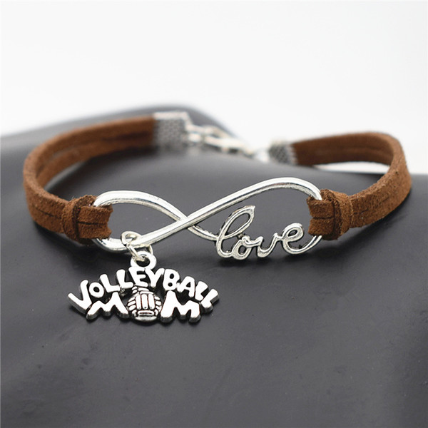 Dark Brown Leather Suede Cuff Bracelets Handmade Infinity Love Mom Volleyball Sports Game Team Pendant Wrap Charm Bangles Boho Jewelry Gifts