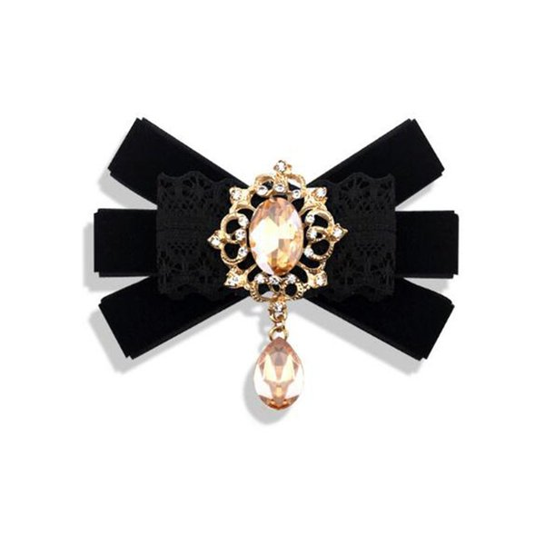 Wholesale Retro Necktie Styles Brooches Handmade Crystal Lace Bow Tiie Brooch Pins For Women Men Suit Shirt Lapel Pins Accessories Jewelry