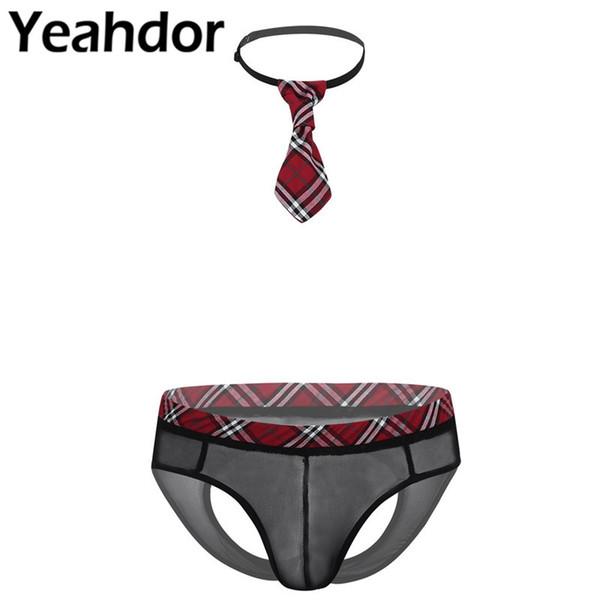 Gay Mens Role Play Mesh See Through Sheer Sissy Lingerie Set Elastic Plaid Waistband Open Butt Briefs + Plaid Tie Nightwear 2Pcs