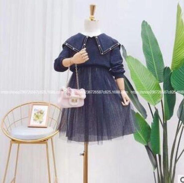 Çocuk giyim 2019 sonbahar yeni kızın tırnak boncuk büyük yaka örme ceket takım elbise örme etek