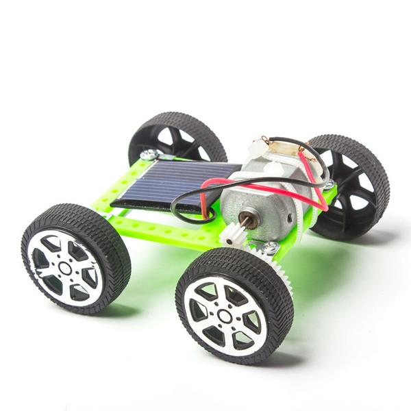 Mini plastik çocuk bilim ilköğretim okulu deney bilim eğitici oyuncak Mini Güneş Araç DIY güneş enerjisi arabası yapmak