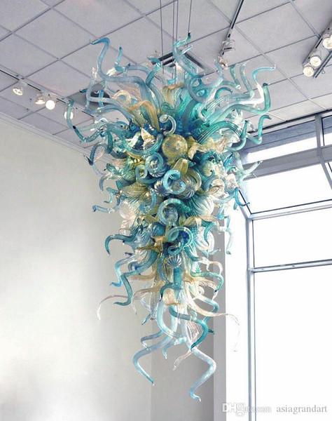 best selling Modern Latest Design Home Art Decoration Lighting Blue Hand Blown Murano Glass Chain Pendant Luminaire Chandelier Lamp