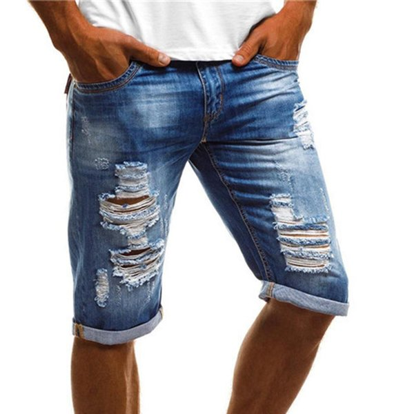 Fashion Vintage Summer Men Ripped Jeans Turn Up Cuff Fifth Pants Denim Shorts Plus Size S-4XL
