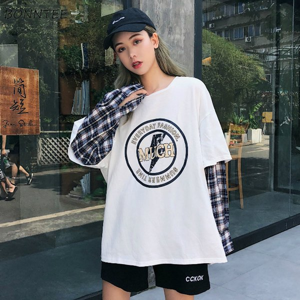 Sudaderas con capucha Mujer Patchwork O-cuello Ocio Diario Sueltas Impresas Sueltas estilo Harajuku de todo el fósforo estilo suéteres para mujer