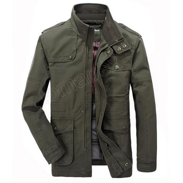 Jacket Men Causal Cotton Windbreaker Long Jackets Mens Military Outwear Flight Jacket Plus size 7XL Men's Trench Pocket Coats
