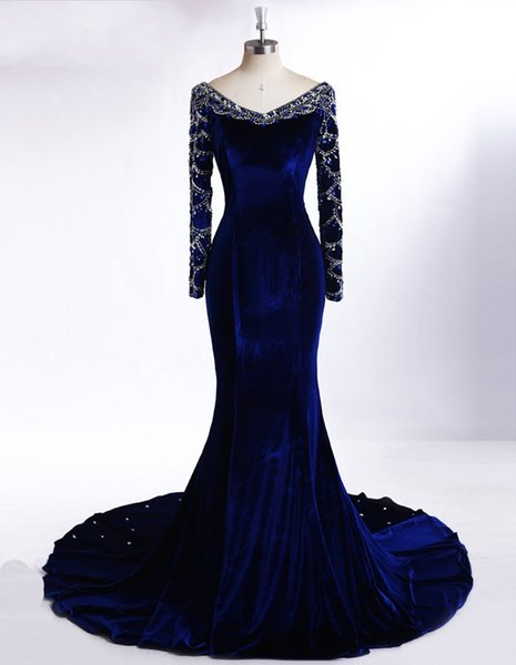Royal Blue Long Sleeve Evening Dresses Floor Length New Arrival Beaded Arabic Mermaid Party Prom Gowns DH1591