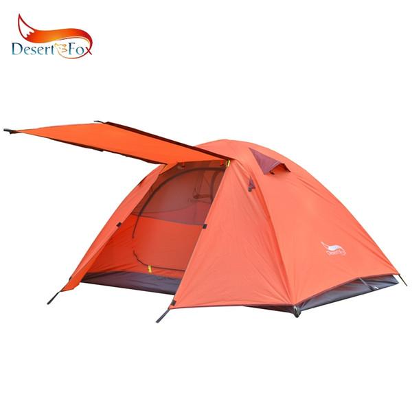 Tente de camping DesertFox 2-3 personnes pôles en aluminium Voyage en plein air double couche étanche tente de randonnée pour le vent