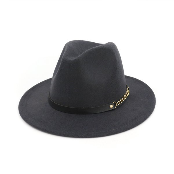 Drak Gray Fashion Damen Wollmütze Einfarbig Fedora Hut Damen Filzhüte Ledergürtel Winter Damen Jazz Hut