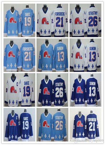 2019 maschile 13 Sundin 21 Peter Forsberg 26 Peter Stastny 19 Joe Sakic Hockey su ghiaccio jersey vestito abbigliamento femminile per bambini