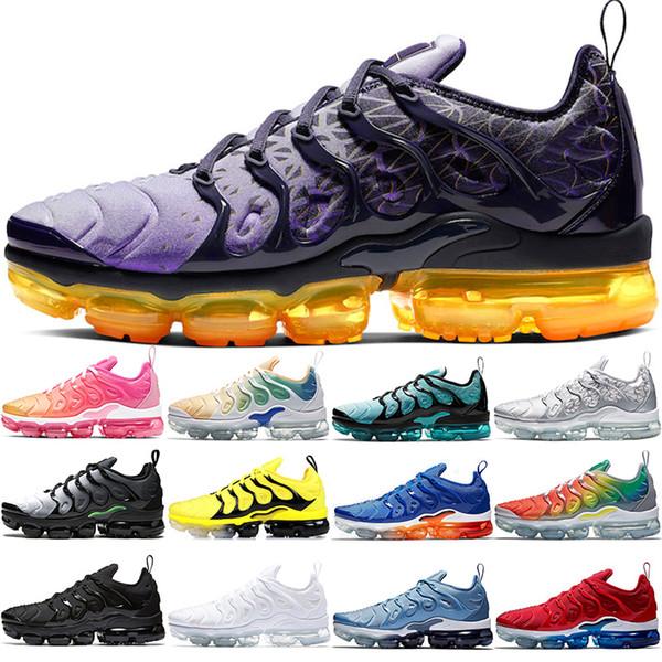 Nike Air Vapormax TN Plusv Barato Plus Hombres Mujeres Zapatos Para Correr Negro Blanco Indigo Storm Volt Juego Royal Lemon Lime Spirit Teal Designer Trainer Sport Sneakers