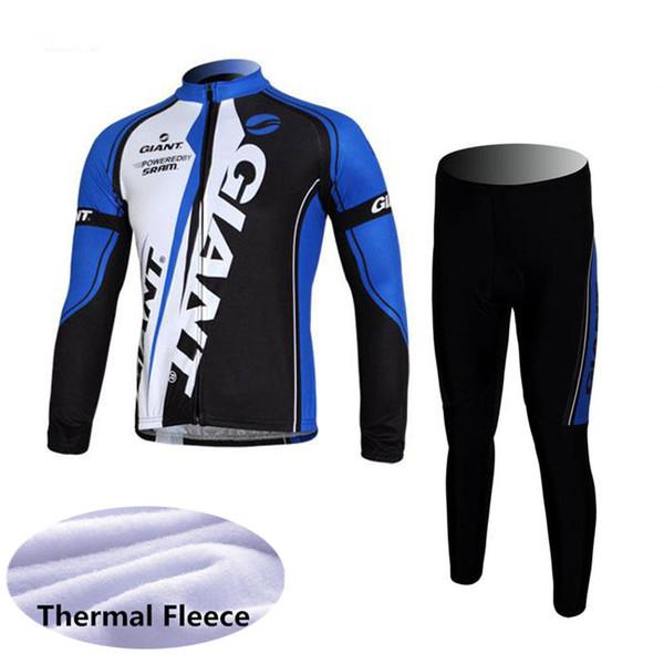 GIANT équipe cyclisme hiver Thermal Fleece jersey pantalon ensembles Outdoor vélo de montagne mens manches longues vêtements d'équitation Q62828