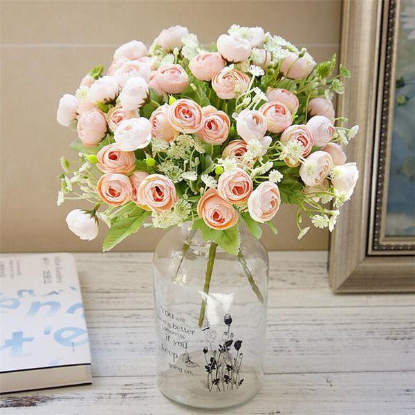 Fake Rose Bunch (5 Stems/piece) Length Simulation Camellia with Plastic Gypsophila for Wedding Home Decorative Artificial Flowers