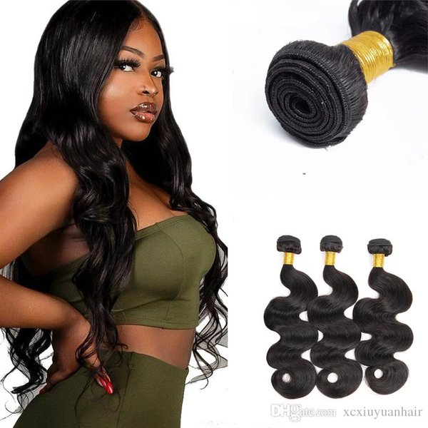 Xiuyuan cuticule aligné vierge indienne vierge extensions de cheveux humains vague de corps remy faisceaux de cheveux humains pour les femmes noires livraison gratuite