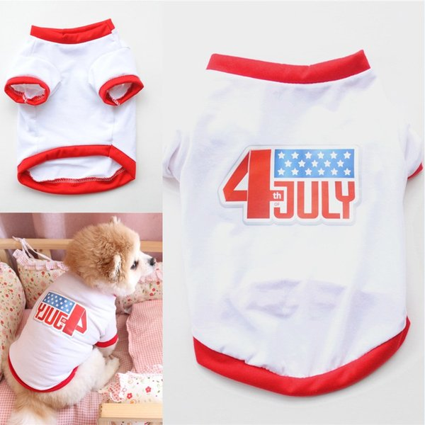 July Fourth Pet Dog T Shirts Pet Dog Independence Day Sleeveless Tank Tops Puppy Independence Day Clothing