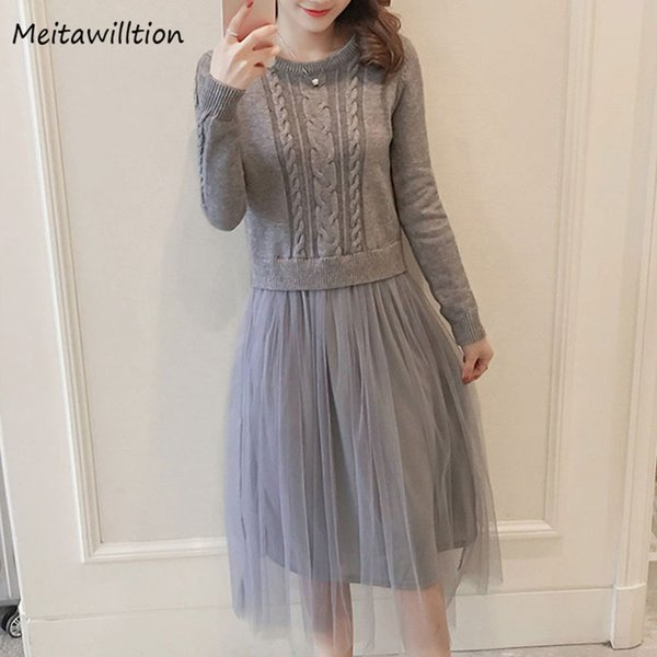 2019 Autumn Winter Women Loose Dress Ladies Solid Long Sleeve Vintage Dress Female Patchwork Mesh Knitted Sweater Dresses