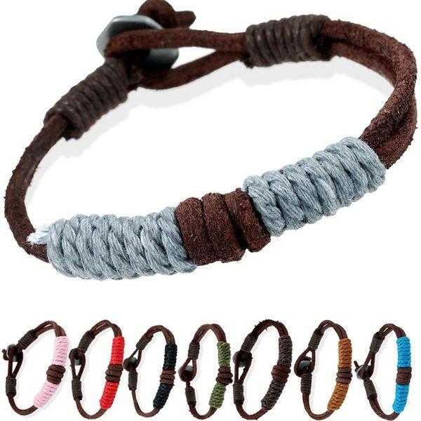 11 styles Corde De Chanvre Wrap Couple Bracelets Rétro Bracelet En Cuir Véritable Pour Femmes Hommes Main Tressé Cool Bracelet Bijoux pksp1-2