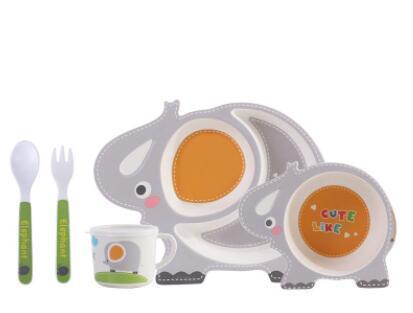 здорового натурального бамбука волокна детский ножевые мультфильм слон посуда тарелка вилка ложка чашка пять частей оптовой комплект Перегородка