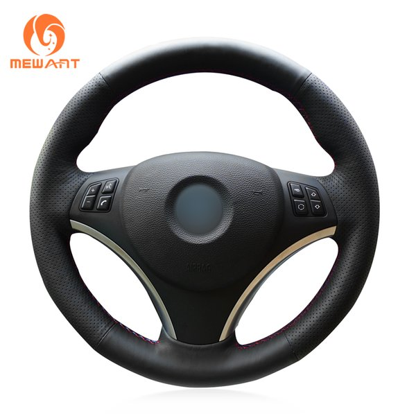 MEWANT Hand Sew Comfortable Black Genuine Leather Car Steering Wheel Cover for BMW E90 320i 325i 330i 335i E87 120i 130i 120d