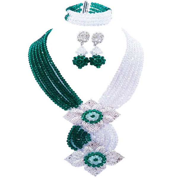 Cristal d'Armée Romantique Vert Transparent Anneau Perle Collier Ensembles pour Amoureux 6C-HL-02