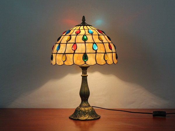 top popular Tiffany Table Lamp E27 Six Models Dragonfly Style Bedroom Bedside Lamp Creative Fashion Retro Table Light 2021