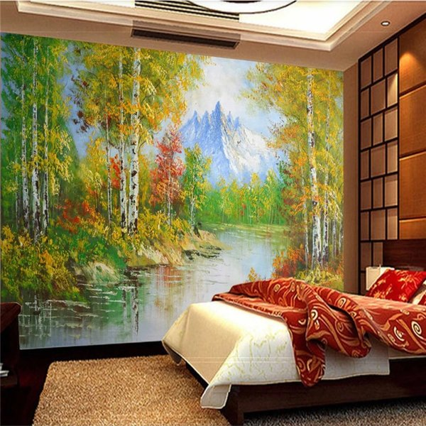Landscape Oil Painting 3D Photo Wallpapers for Walls 3D Green Golden White Birch Forest Creek Mural Wall Papers Home Decor