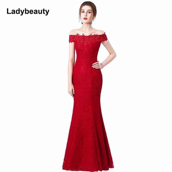 Perlen Lace Mermaid Langes Abendkleid 2018 Günstige Red Prom Kleider Robe De Soiree Off The Shoulder Party