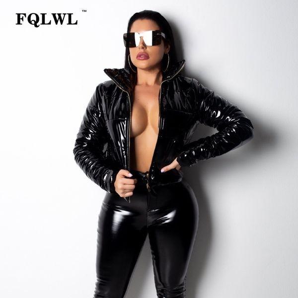 FQLWL Fur Faux Pu Leather Jacket Mulheres manga comprida Zipper quente grossa Mulheres Tops jaqueta de inverno Senhoras casaco acolchoado Parka Casacos