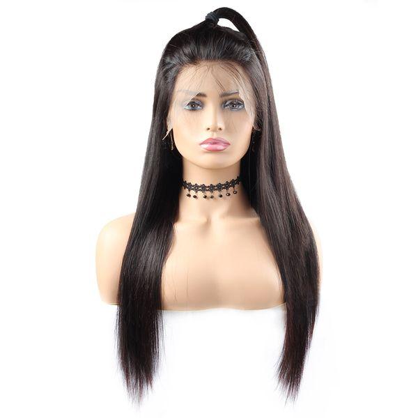Натуральный Цвет 10А Прямые Парики 360 парики фронта шнурка человеческих волос 10