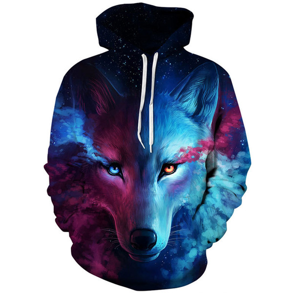 3D Wolf Print Where Light And Dark Meet by Hoodies Sweatshirts Men Women Hoodie Casual Tracksuits Fashion Baseball Costume Coats