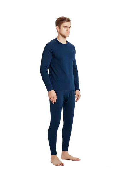 Designer Thermo Unterwäsche Anzüge für Männer Neue Ankunft Winter Warmhalten Weiche Komfortable Fleece Unterwäsche Anzüge Farbe Grau Navy Größe M-3XL