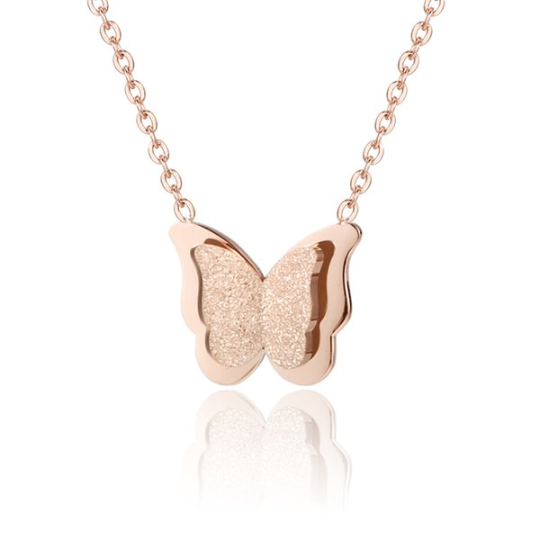 European and American fashion sweet personality delicate butterfly pendant stainless steel necklace HM19072905