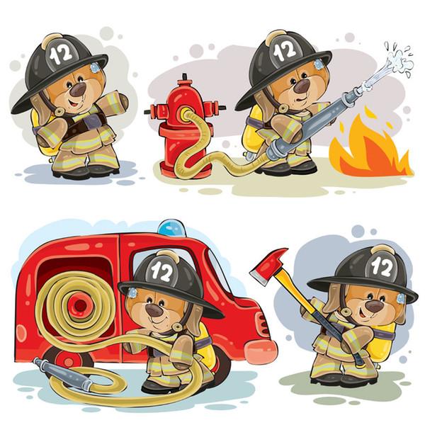 4 pezzi set adesivi per auto combattente fumetto fuoco per l'automobile auto / Paraurti / Window / Wall Sticker Decal decalcomanie della decorazione di DIY EBDECAL CT25071