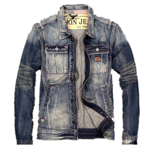 Men's Denim Fashion Coat Worn Washed Self-cultivation Retro Shirt Motorcycle Clothing Jacket Tide Pocket Printing