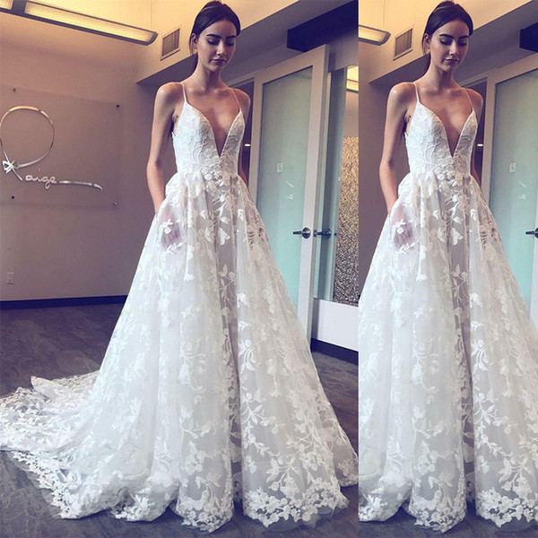 Elegant White Lace Evening Dresses Formal A Line Spaghetti Strap Backless Appliqued Long Women Occasion Party Gowns 2622