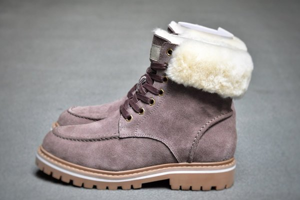 snow half boots wgg sheepskin fur warm 2020 winter laceup solid leather outdoor womens girl half boots ankle boots black grey pink shoes
